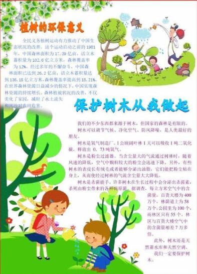 北京小学六年级关于树木手抄报