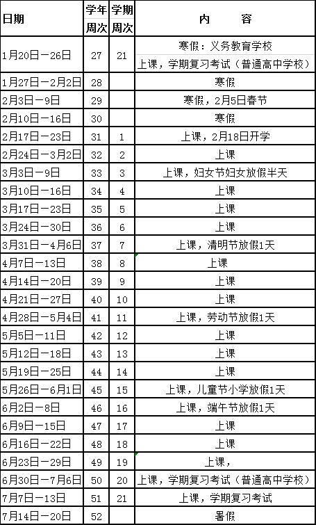 2019深圳暑假放假时间表
