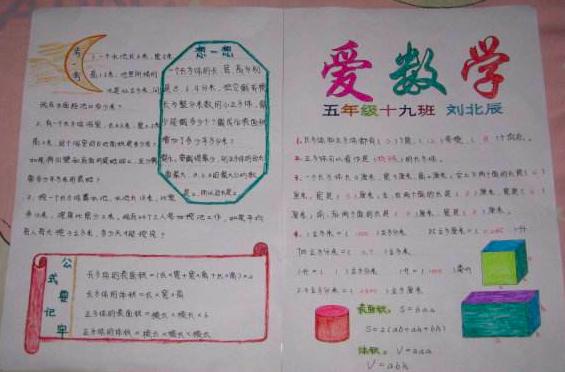 北京小学数学手抄报内容图片