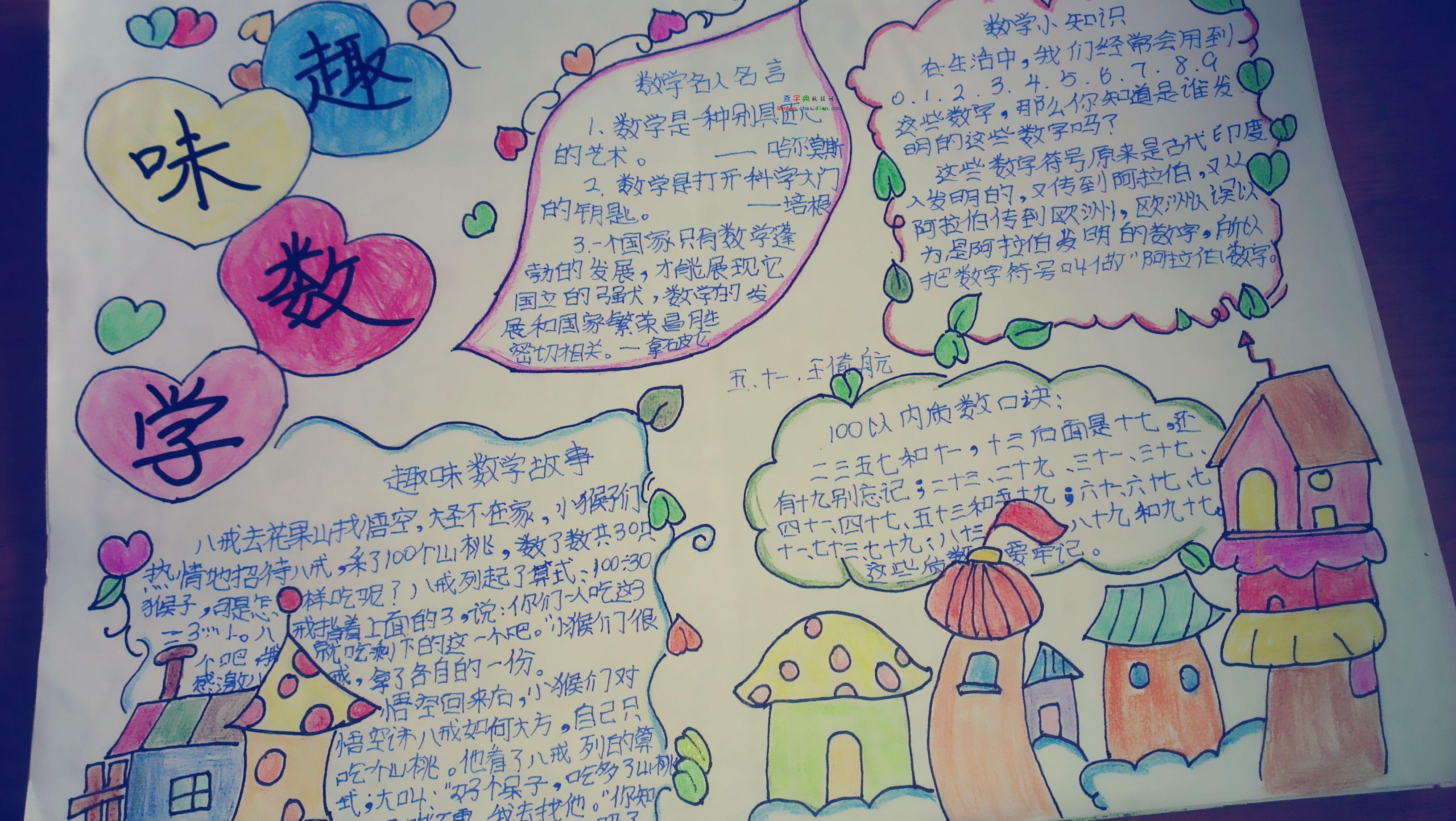 北京小学数学四年级手抄报