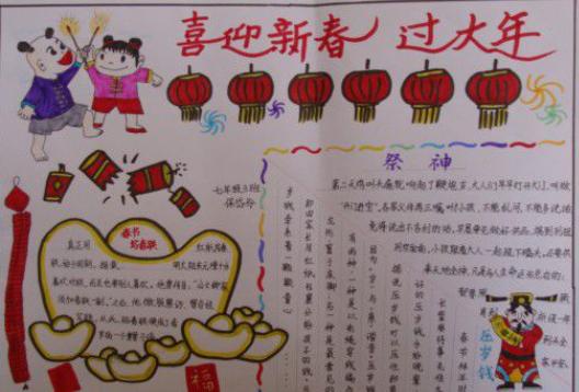汇总丨2020春节小学一年级手抄报内容