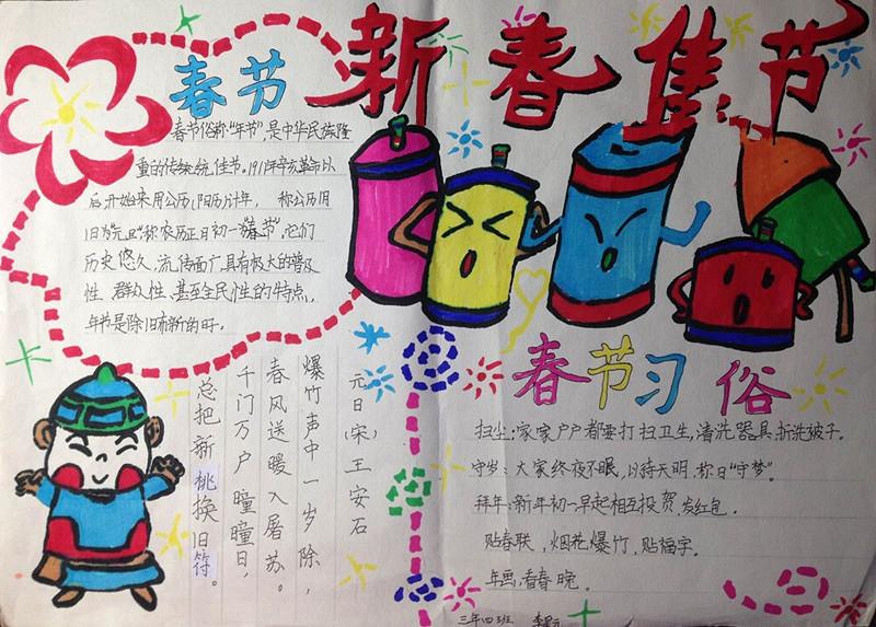 2020年春节由来手抄报5张(4)图片