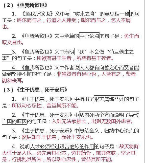 初中文言文重点知识汇总(一)