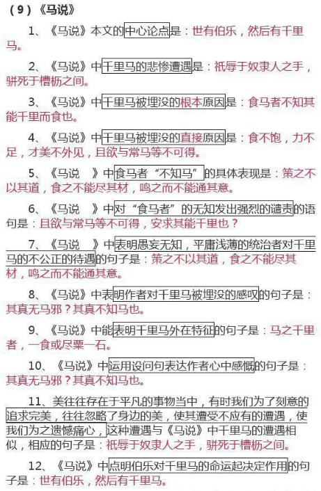 初中重点文言文知识摘选(三)