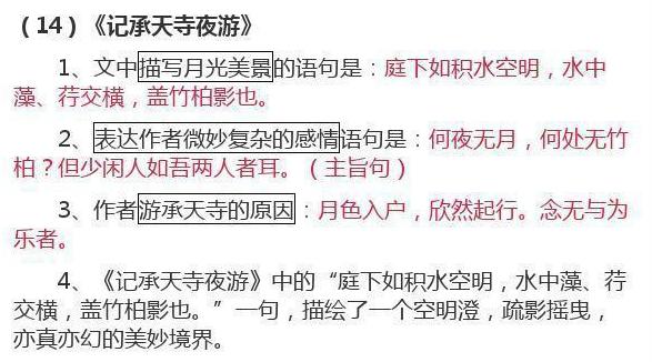 初中语文课文重点基础知识(一)