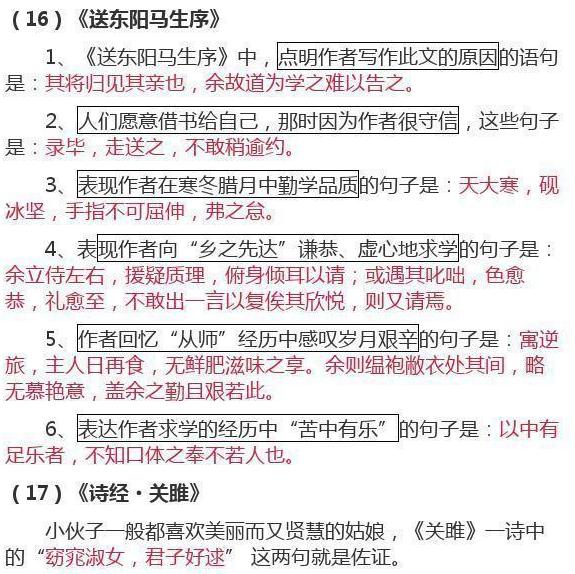 初中语文课文重点基础知识(二)