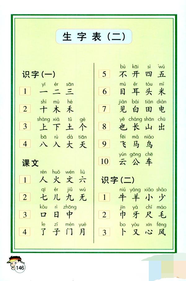 一年级上册语文书生字表