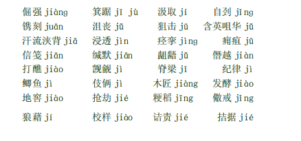 中考语文易读错字