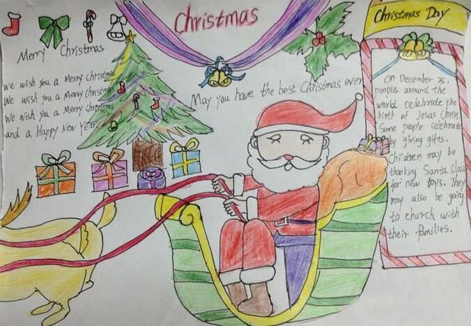 2018年一年级圣诞节手抄报图片5张