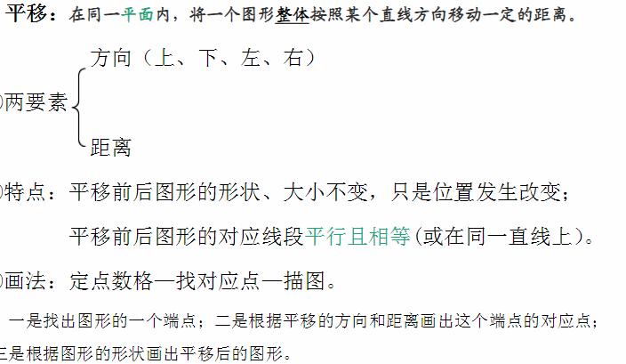 深圳五年级上册数学平移知识点