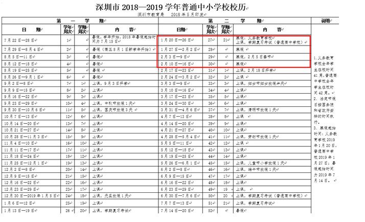 2018-2019年上学期深圳初中期末考试时间安排表