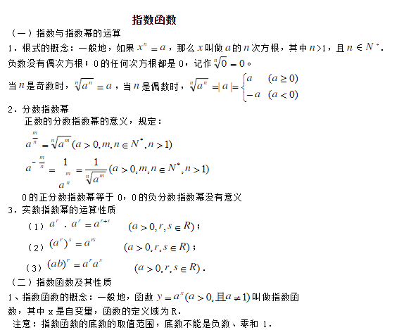 深圳所有白菜免费彩金网址数学必修一指数函数知识点总结归纳