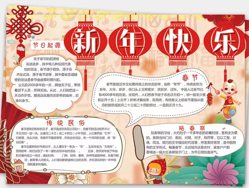 2019年初二年级猪年春节手抄报资料内容