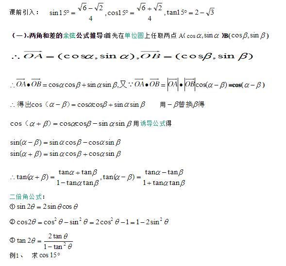 深圳高中数学必修四和角公式知识点总结归纳