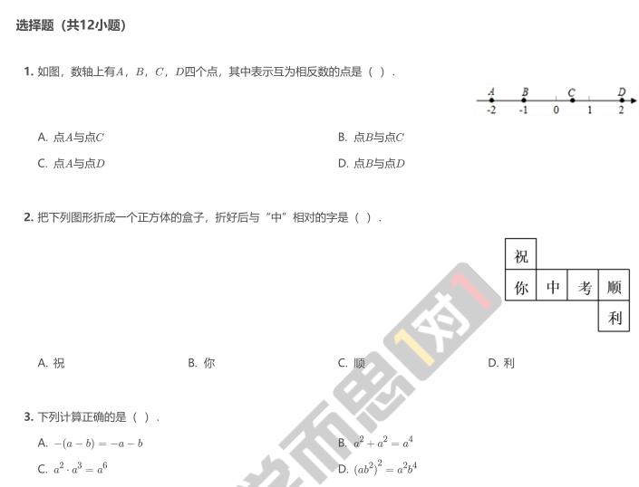 2019年深圳深中初三数学开学考模拟试卷及答