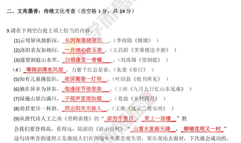 2015年深圳小学生升初中私立学校语文试题上午场(百外)及答案