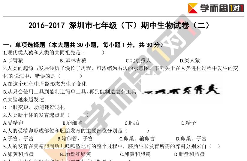 2016-2017学年深圳初一下期中生物试卷及答案