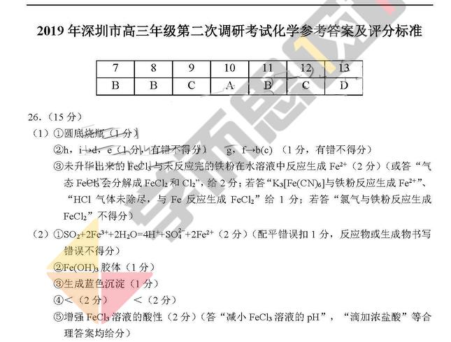 2019年深圳高三二模理综试题及答案