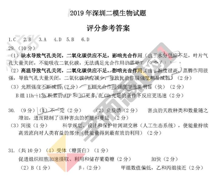 2019年深圳二模理综试卷及答案
