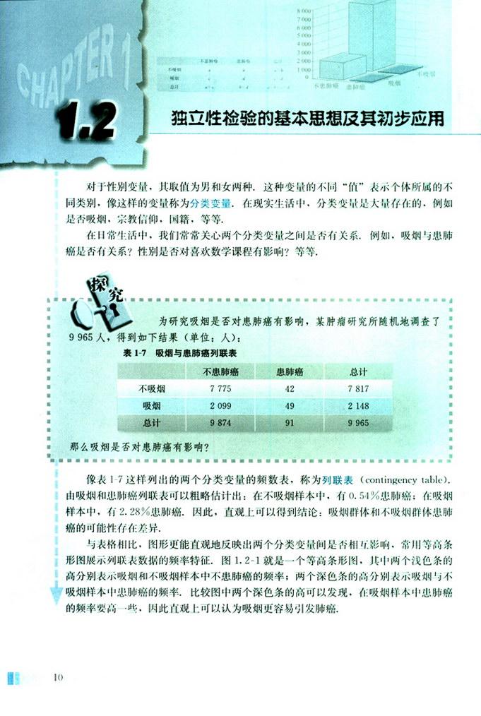 深圳高中数学选修1-2独立性检验的基本思想及其初步应用