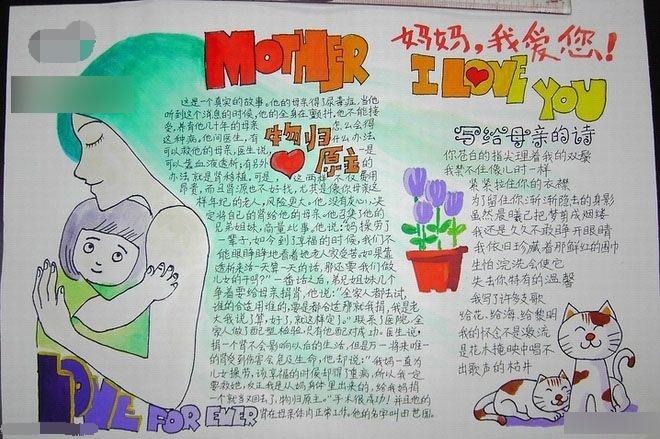 2019年初二母亲节手抄报3张