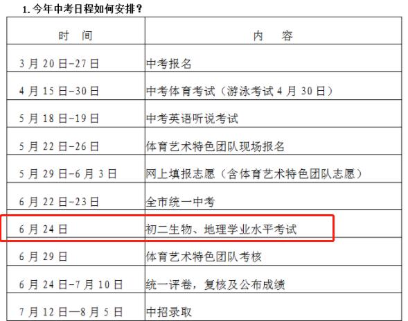 2019年深圳会考时间安排(初中)