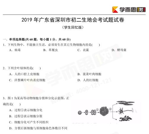 2019年深圳初二学业水平考试试卷及答案
