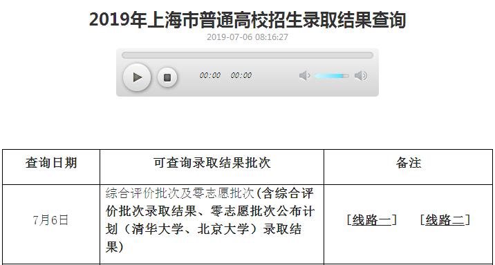 上海2019年高考录取结果查询系统