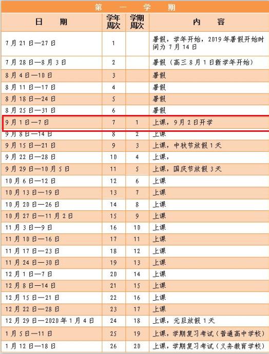 2019年深圳市中小学暑假开学时间安排