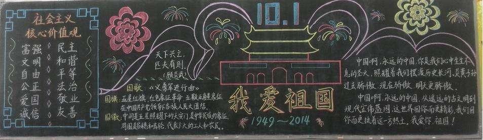 2019年国庆黑板报设计大全高中生