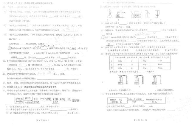 2018上海仙霞中学九年级上期中化学考试试题