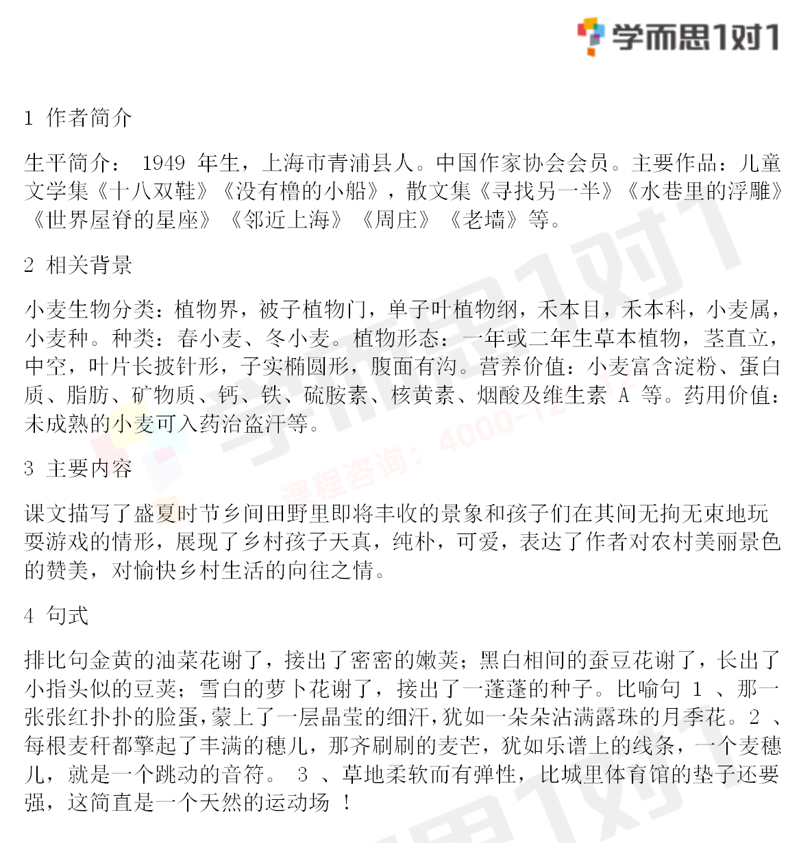 深圳四年级下册语文麦哨知识点