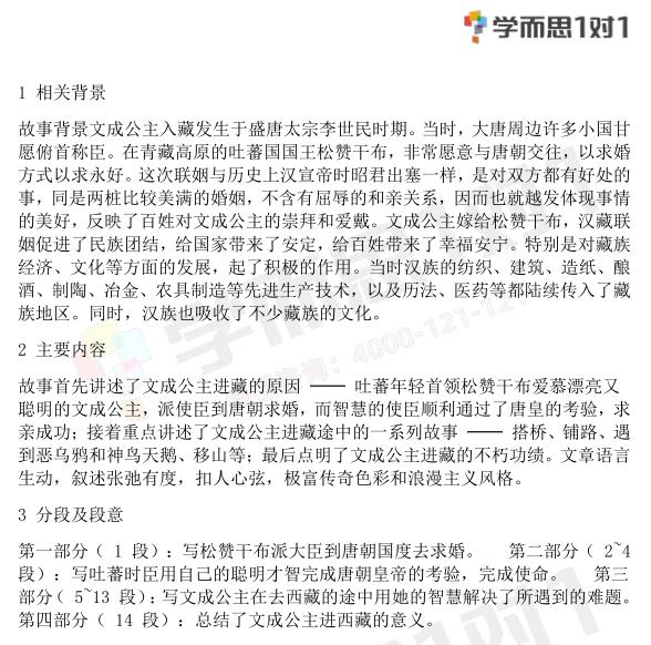 深圳四年级下册语文文成公主进藏知识点