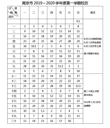 南京中小学校历,2019年寒假放假时间,2020年开学报名时间