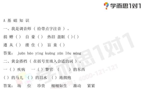 深圳四年级下册语文永生的眼睛单元测试题含答案