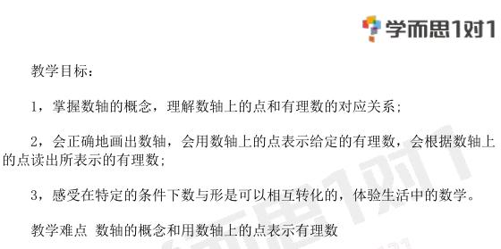 深圳七年级数学上册数轴教案