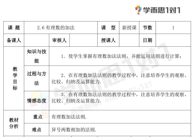 深圳七年级数学上册有理数的加法教案