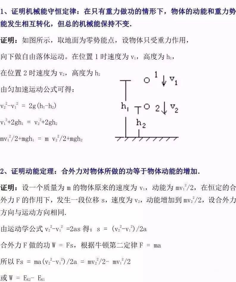 高考物理重要公式定律的证明及推导汇总