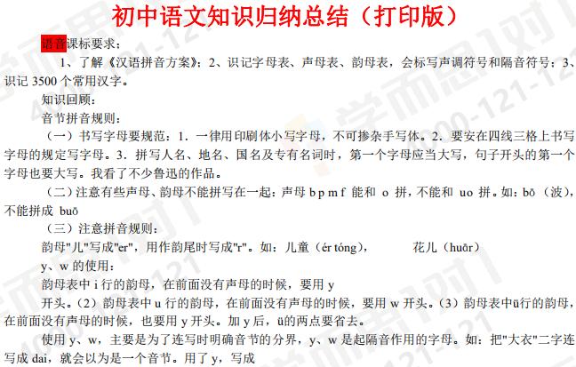 2020年初中语文知识点归纳汇总