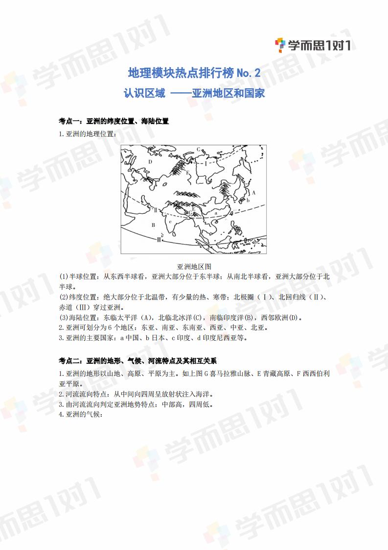2020年深圳生地会考地理热点模块NO.2认识区域―亚洲地区和国家