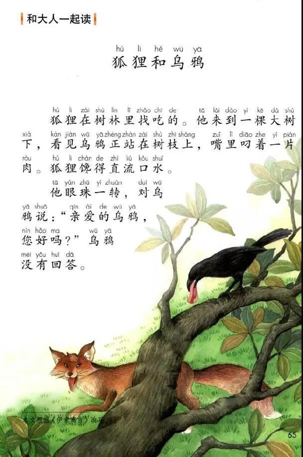 部编版一年级下册和大人一起读《狐狸和乌鸦》知识点