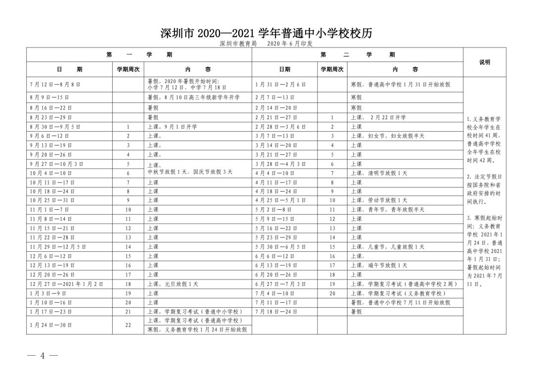 深圳高中开学时间2020暑假